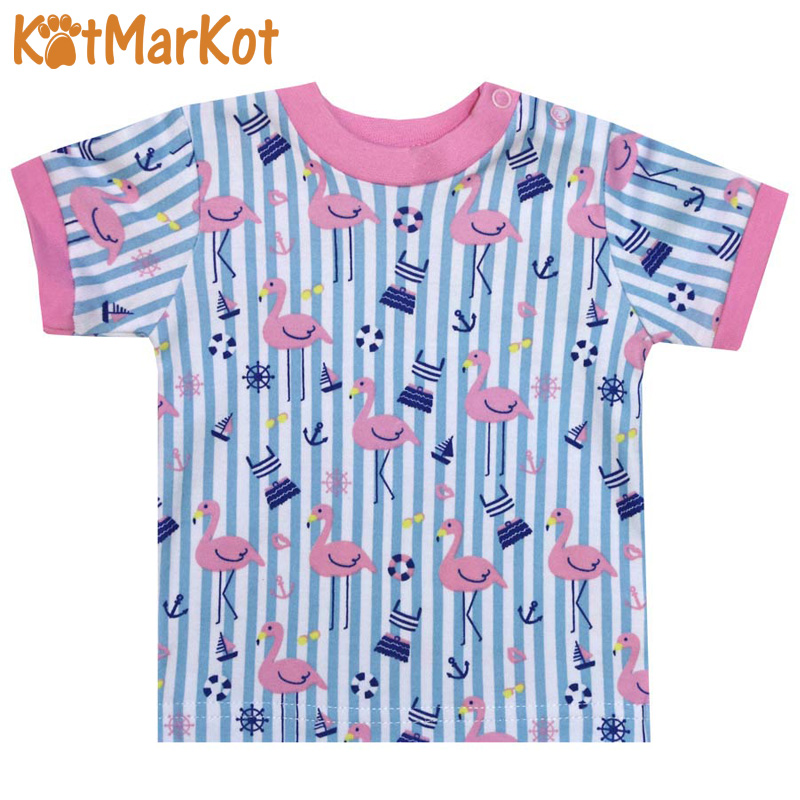 T-Shirts Kotmarkot 77203 for children t-short Jersey tee shirt baby clothes Cotton cat sotmarket Baby Girls Casual Animal casual round neck bloodstain print short sleeve t shirt for women
