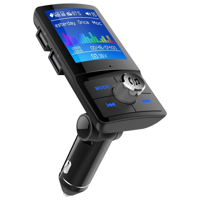 Transmetteur FM pour voiture | Lecteur MP3, Bluetooth, stéréo sans fil, Audio 1.8 pouces LCD, écran couleur, mains libres, double USB, lecteur de dossier