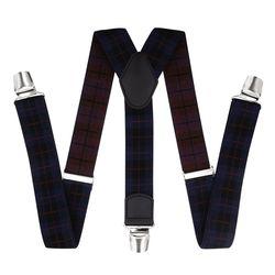 Pantalons bretelles avec clips renforcés (3.5 cm, 3 clips, bleu, rouge) 55720