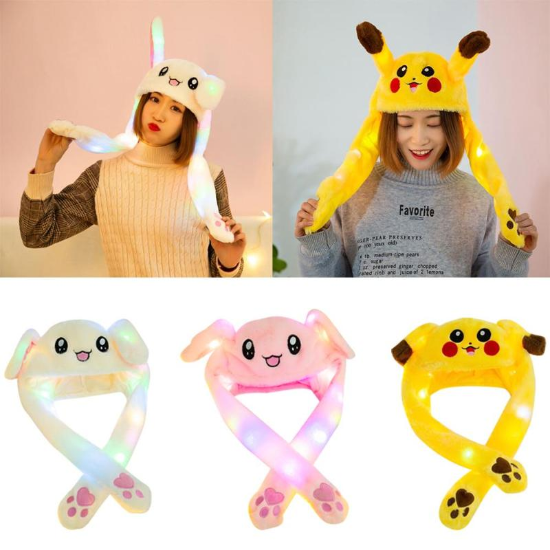 Lighting Funny Hat Baby Kids Cartoon Lighting Hat Cute Rabbit Ears Plush Ears Can Move Cap Children Shine Winter Warm Party Hat