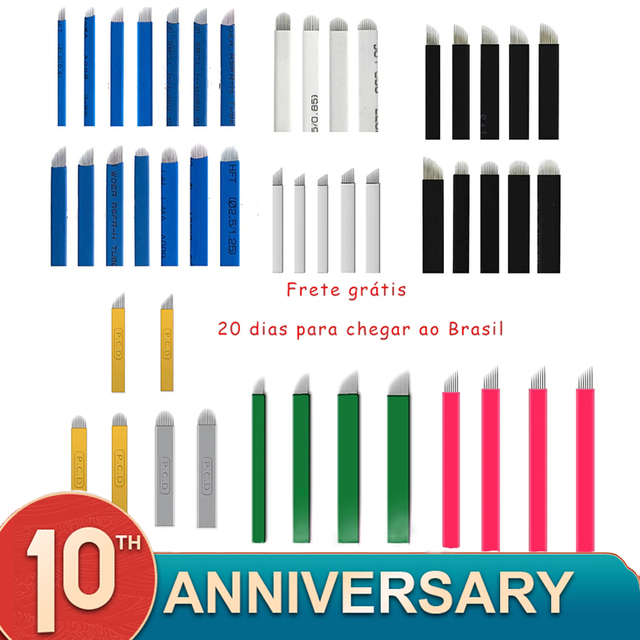 100pcs Microblading Needles 0.16mm nano Agulhas Lamina multiple Para Flex 12U Shape Tattoo Blades for Tebori Manual Eyebrow Pen