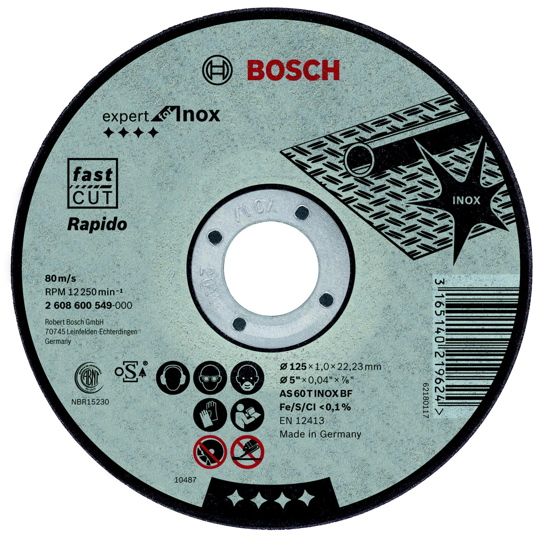 Circle Cutting BOSCH 125х1х22 Expert For Inox (2.608.600.549) 1 PCs
