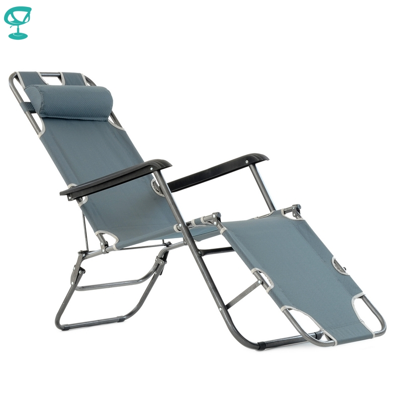 95636 Barneo PFC-12 Gray Folding Reclining Garden Deck Chair Sturdy Tubular Steel Frame Hard-Wearing Textoline Fabric Adjustable
