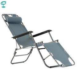 95636 Barneo PFC-12 Gray Folding Reclining Garden Deck Chair Sturdy Tubular Steel Frame Hard-Wearing Textoline Fabric Adjustable