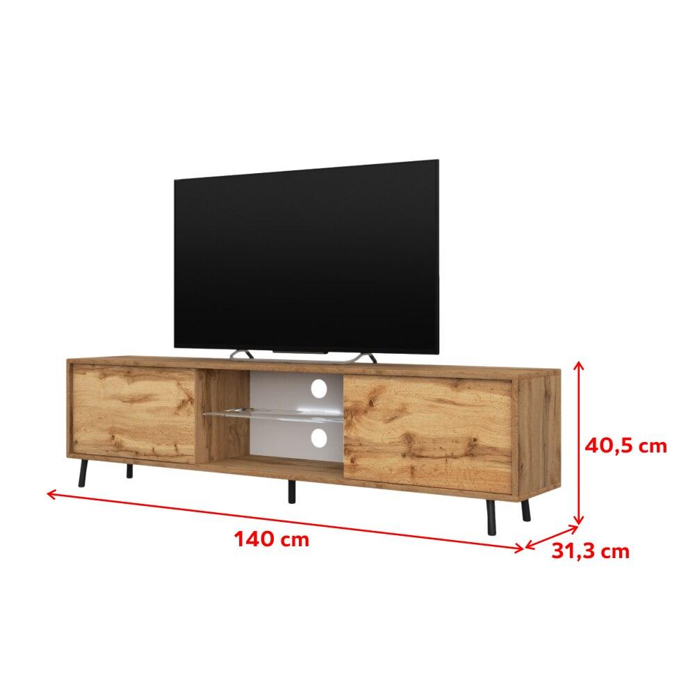 LEFYR - Meuble tv / Banc tv chêne wotan, 140 cm, éclairage LED 4