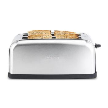 H. koenig Baguettes Toaster Pan 2 Slots Long and Wide, length 4 Slices, 1500 W, 3 Functions, 7 Levels roasting, Steel 2