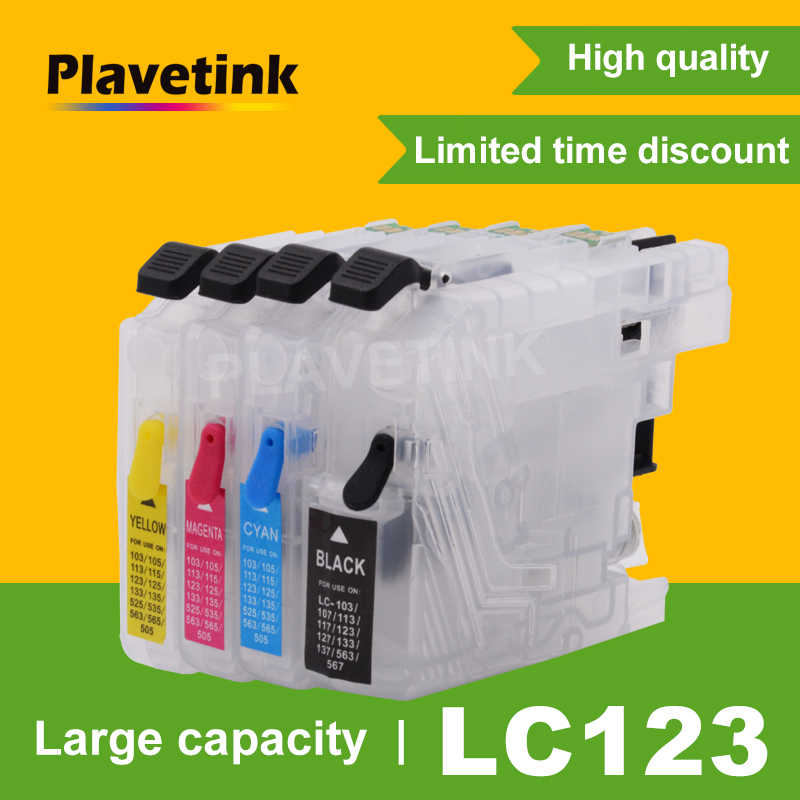Plavetink Tinta Isi Ulang Cartridge LC123 LC121 LC125 LC127 LC129 untuk Brother LC123 XL DCP-J4110DW J132W J152W J552DW J752 Printer