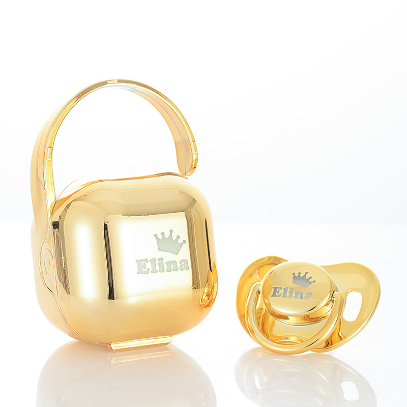 MIYOCAR Personalized Custom Any Name Luxurious BPA Free FDA Golden Baby Pacifier And Pacifier Storage Box Nipple Storage PBS-G