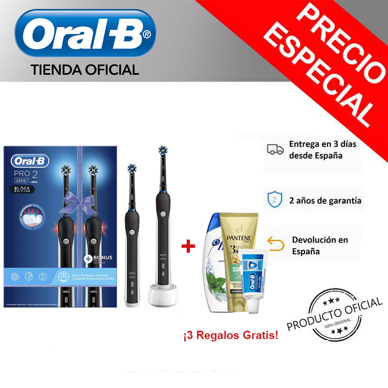 Oral-B PRO 2 2900 Pack 2 Electric rechargeable Clipper sets Black, timer PROFESSIONAL, sensor pression, 14 days use image