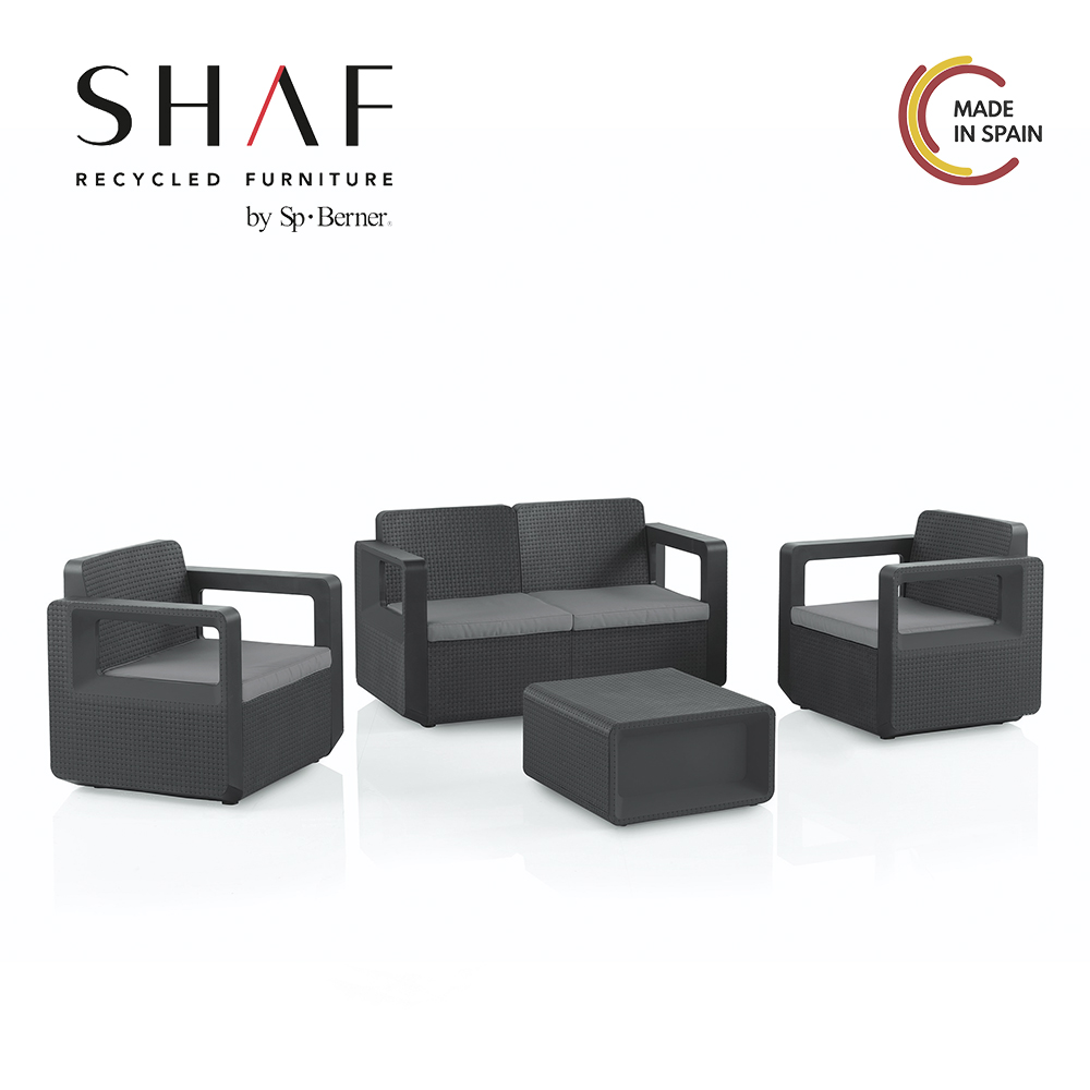 SHAF-Set Garden Venus comfort: Set garden furniture with sofa, chairs and table waterproof, includes cushions, 2 colors