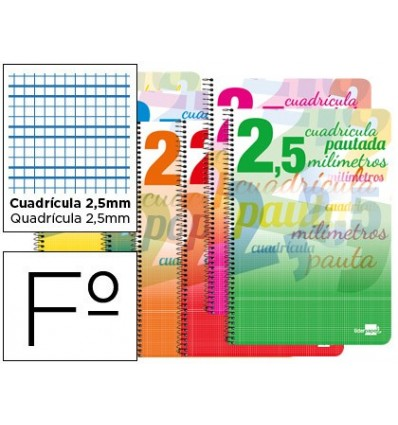 SPIRAL NOTEBOOK LEADERPAPER FOLIO PAUTAGUIA SOFTCOVER 80H 80GSM BOX SCHEDULED 2,5MM MARGIN ASSORTED Color 5 Units