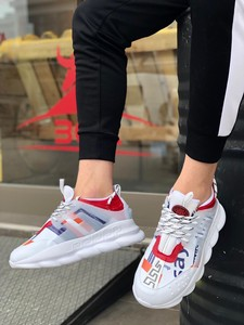BA0132 BOA Thick Sole Sneakers Style White Red Men 'S Sports Shoe
