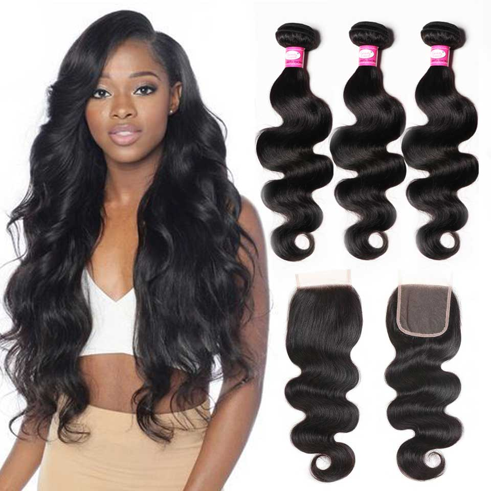 Body Wave Bundles With Closure Brazilian Hair Weave Bundles With Closure Non-Remy Human Hair Bundles With Closure