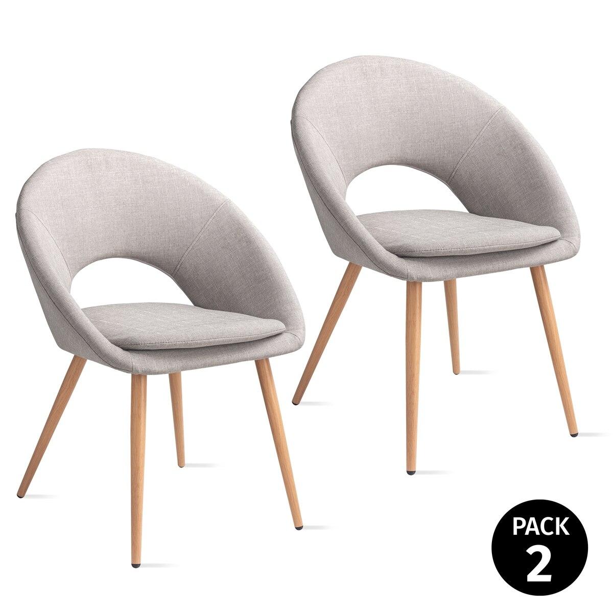 Mc Haus-Pack 2 Chairs LAGUNA Nordico Grey Pearl Living Room 46x43x82cm