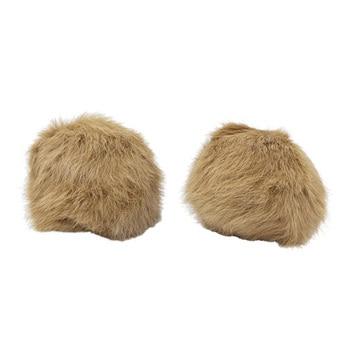 Pompon Made Of Natural Fur (rabbit), D-10cm, 2 Pcs/pack (F. Beige)