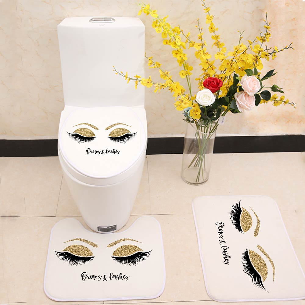 Eyelashes Print Bathroom Curtain Set With 12PCS Plastic Hooks For With Toilet Seat Cover 4