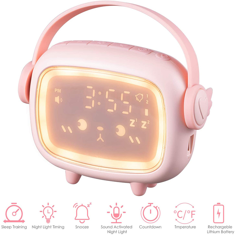 2020 New Cute Alarm Clock for Kids OK to Wake Sound Activated Alarm Clock Rechargeable with Night Light Temperature 6 Ringtone