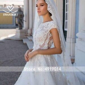 Image 4 - ĐẦM REN Vintage Váy Cưới Công Chúa 2020 Swanskirt Appliques Chữ A ĐÍNH HẠT Triều Đình Đoàn Tàu Cô Dâu Bầu Ảo Ảnh Áo Dây De Mariee I181