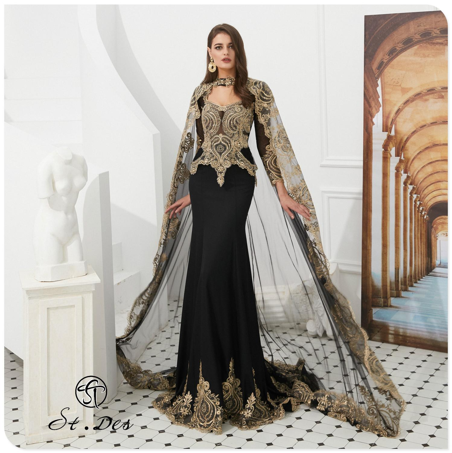 2020 S.T.DES Mermaid Cape Cloak Round-Neck Black Blue Wine Embroidery Long Sleeve Evening Dresses Long Party Gown Formal Dress