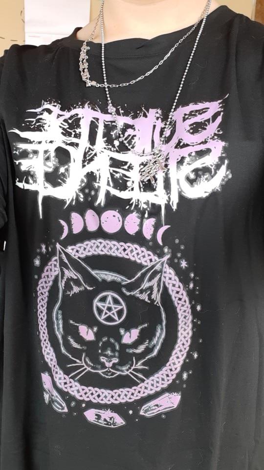 Women t-shirts Dark Wind Style Black Oversize  Hip Hop Tops Harajuku Vintage Aesthetic Gothic Graphic Punk Clothing photo review