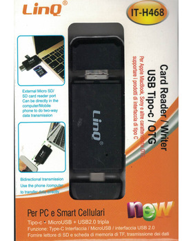 Linq® It H468 Lector de múltiples tarjetas para teléfonos móviles / dispositivos con tipo C, MICRO USB, lector de tarjetas SD/TF