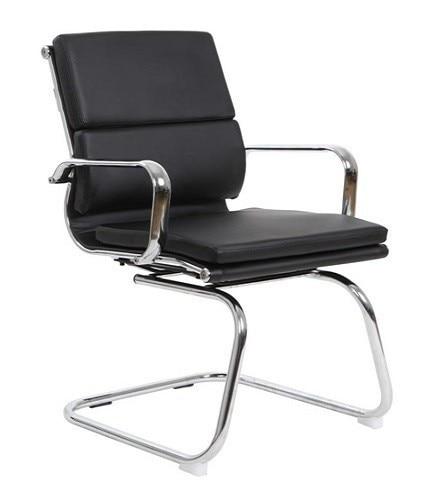 Office Armchair COPENHAGEN, Fixed, Plating, Similpiel Black
