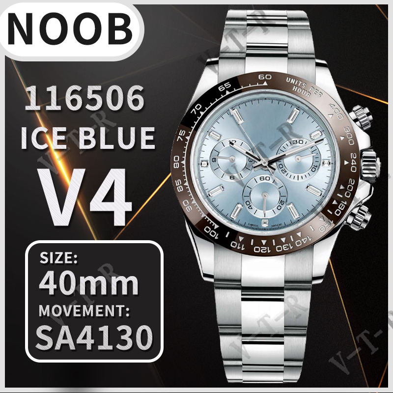 Мужские механические часы 40 мм Daytona 116506 коричневый керамический Безель Noob 1:1 лучшее издание 904L SS браслет Ледяной Голубой циферблат SA4130 V4