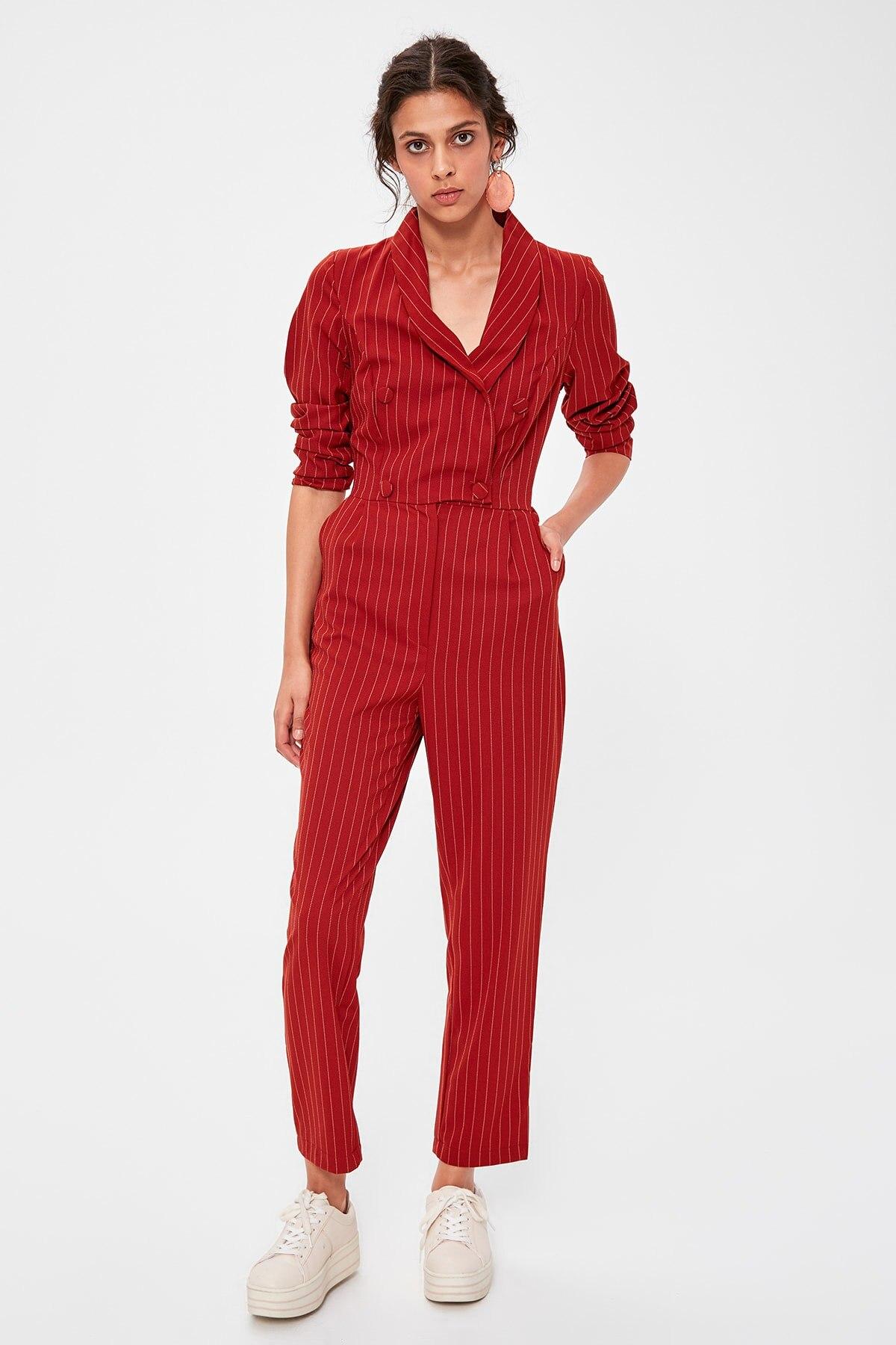 Trendyol Tile Striped Jumpsuit TWOAW20TU0022