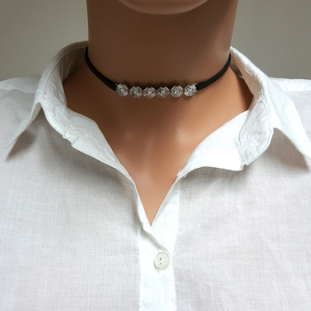 Women Fashion Choker Necklace 925 Sterling Silver Fashion Necklace Made in TURKEY