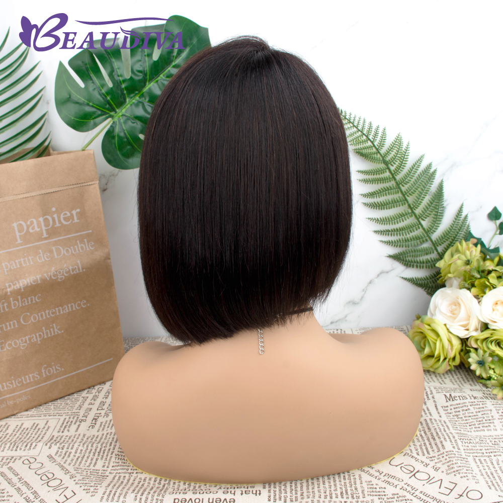 Straight Short  Wigs 150%   Hair Can Be Dyed Part Lace Bob  Wigs Pre-Plucked Bleached Knots 4
