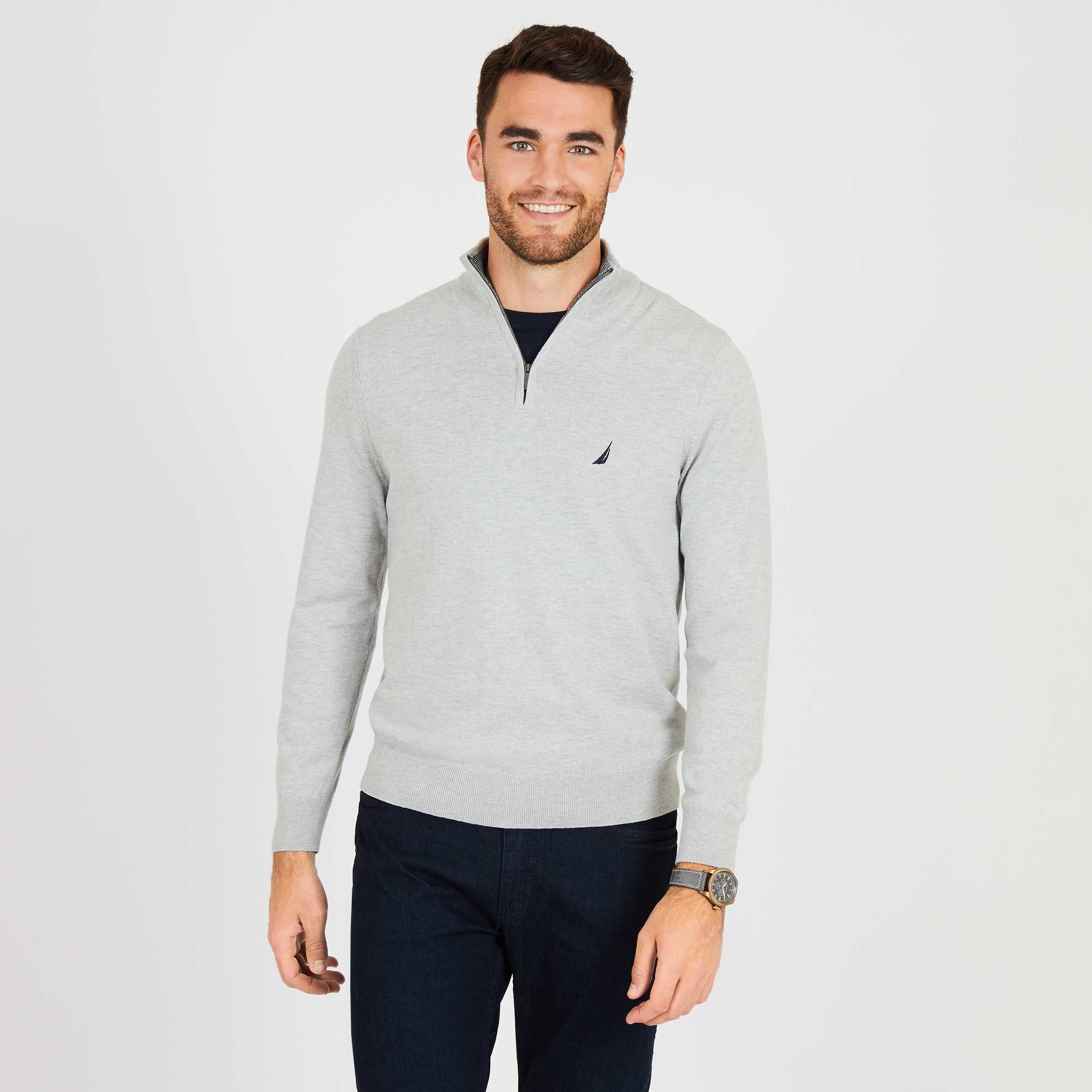 Nautica Sweater Men Knitted Cotton Chest Logo Color Clear Grey S83101.0GH