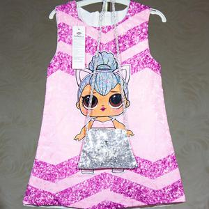 Платье лол кукла для девочки принцесса lols розовое с сумкой два предмета серебристая с пайетками