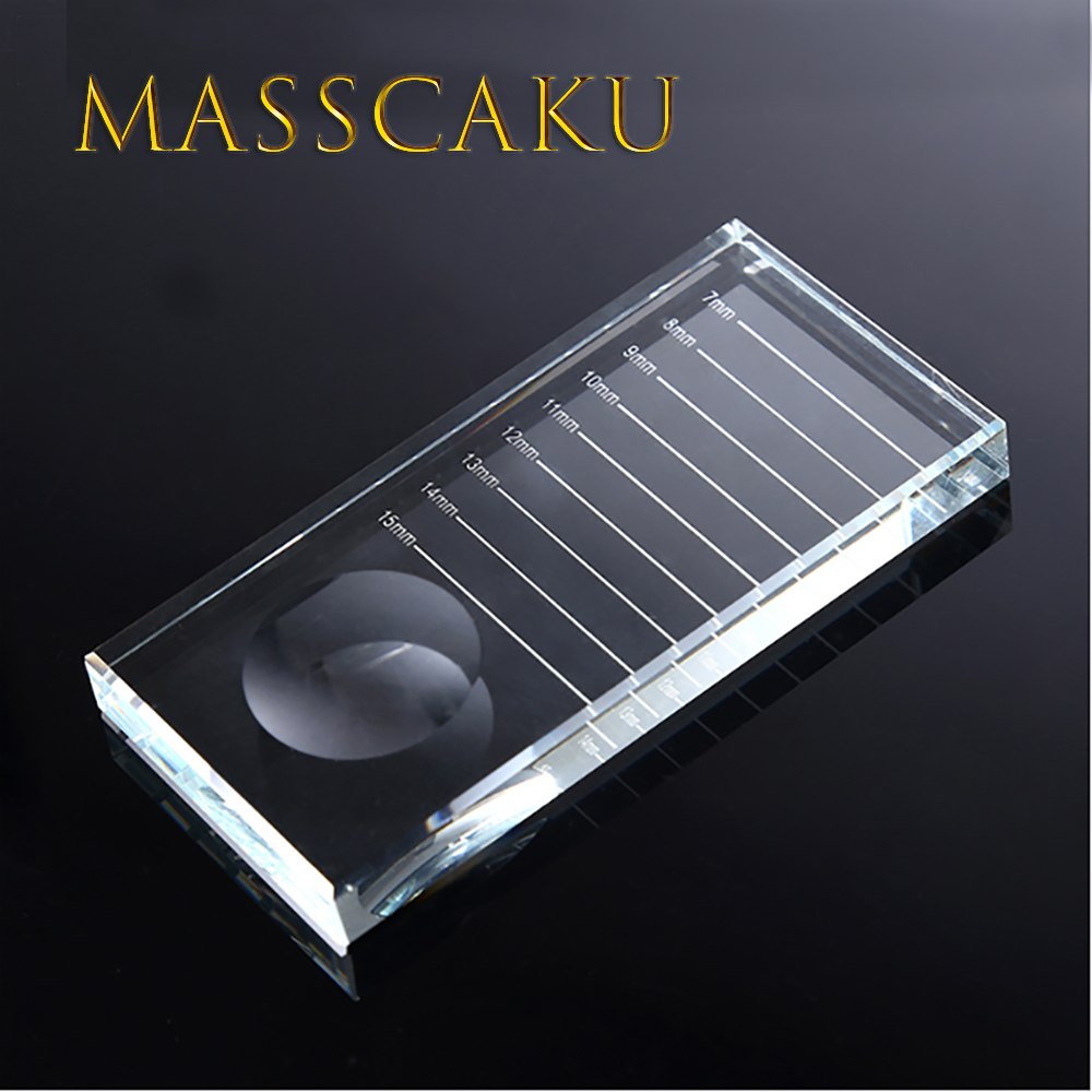MASSCAKU New Arrival 1Pcs Glass Eyelash Glue Eye Lash Holder Crystal Stone Adhesive Glue Pallet For Eyelash Extensions Wholesale