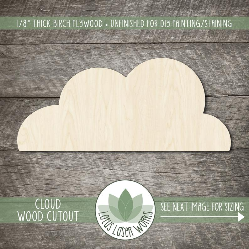 10 Pack Plywood Wooden Craft Shape Blank Rainbow Cloud