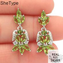 25x11mm 3.37g Elegant Created Green Peridot Blue Aquamarine Natural CZ Gift For Girls Real 925 Solid Sterling Silver Earrings