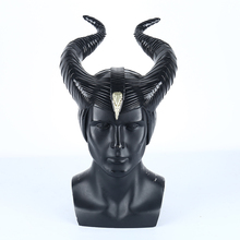 цена на Yacn Maleficent Horns Black Latex Headwear Mask Cosplay Black Queen Costume Party Halloween