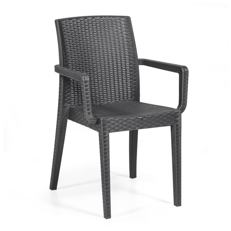 Armchair GLADY, Stackable, Polypropylene Anthracite