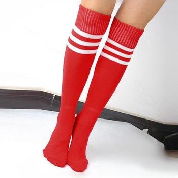 Los hombres y las mujeres medias de alta elástico a rayas alta rodilla deporte fútbol calcetines de la rodilla tubo corriendo elástico Calcetines largos Calcetines