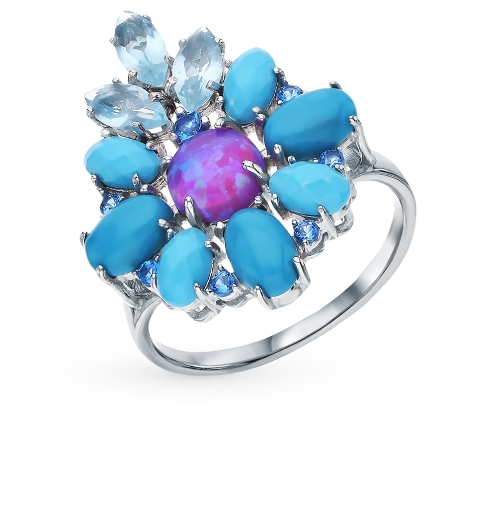Silver Ring With Turquoise, Topaz, Cubic Zirconia And Sunlight Beads 925