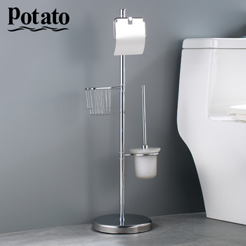 Potato Toilet Brush Free Standing Accessories White Paper Holder Bathroom holders brushed Chrome p325