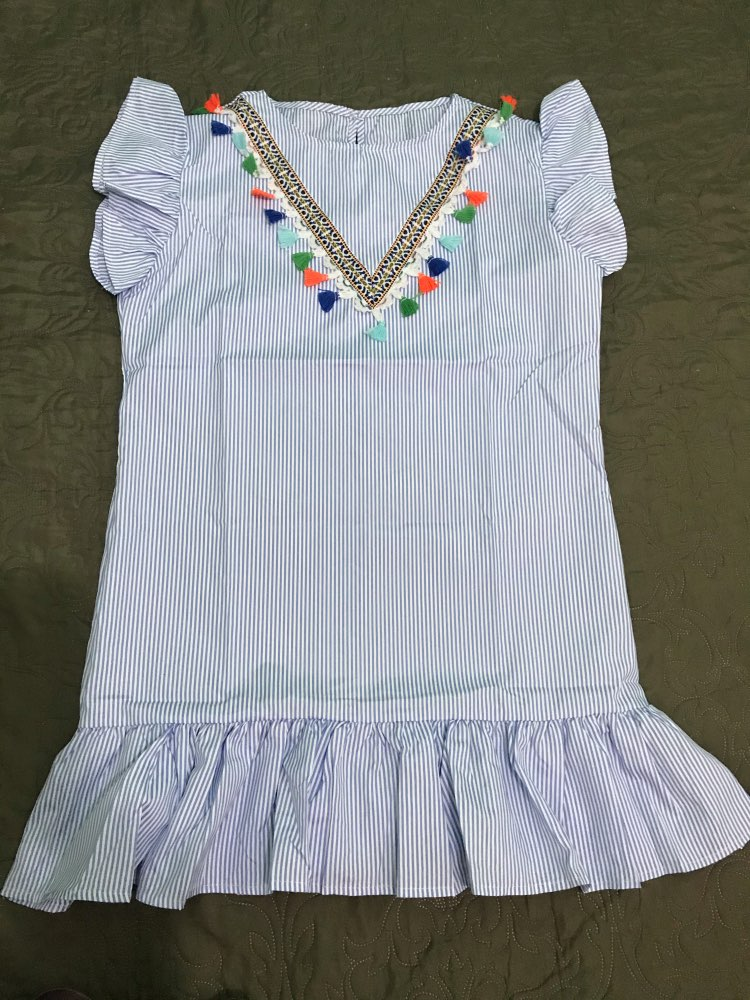 Family Matching Pompom Embroidered Striped Dress photo review