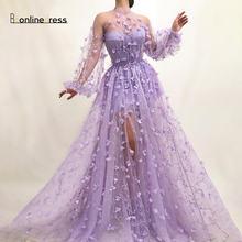 Сиреневое вечернее платье с рукавами прозрачные элегантные длинные
