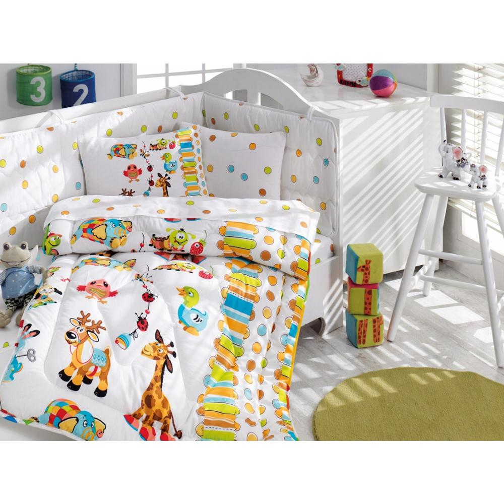 Made In Turkey JOY Infant Baby Crib Bedding Bumper Set For Boy Girl Nursery Cartoon Animal Baby Cot Cotton Soft Antiallergic