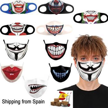 Active 3D drawing Facial mask, halloween mask, reusable mask, unisex Facial protection mask, washable