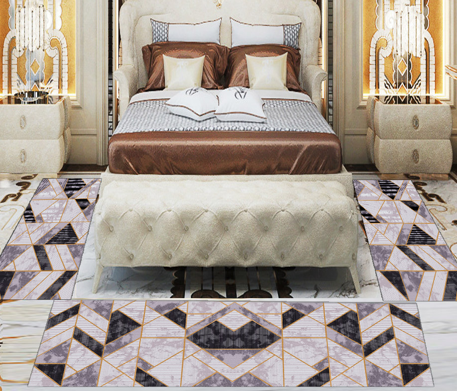 Else 3 Piece Gray Beige Patchwork Marble Design 3d Print Non Slip Microfiber Washable Decor Bedroom Hallway Area Rug Carpet Set