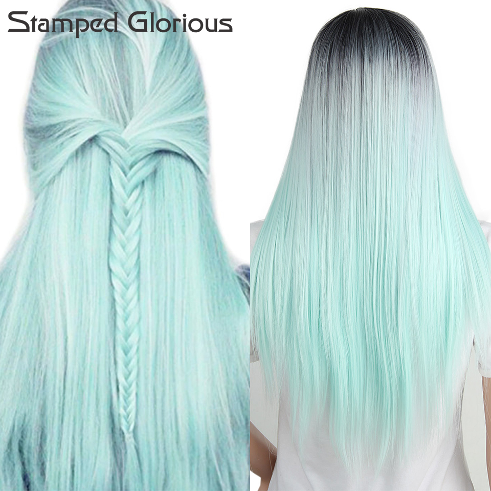 Stamped Glorious Middle Part Long Ombre Mint Silky Straight Wigs For Women Cosplay Synthetic Wig Heat Resistant Party Fiber