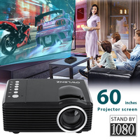 LED Mini Projector Full HD 1080P USB TF AV Media Player Home Cinema Theater LCD 16:9 Kids Gift With 60 Inches Projector Screen