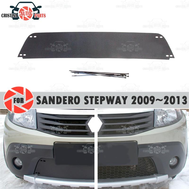 Зимняя крышка радиатора для Renault Sandero Stepway 2009 ~ 2013 пластик ABS рельефный чехол бампер для автомобильного стайлинга аксессуары украшения