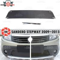 Inverno tampa do radiador para renault sandero stepway 2009 plastic 2013 plástico abs em relevo capa pára choques estilo do carro acessórios decoração|Estilo de cromo| |  -