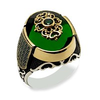 Authentic Design Silver Men's Ring with Green Zircon Stone